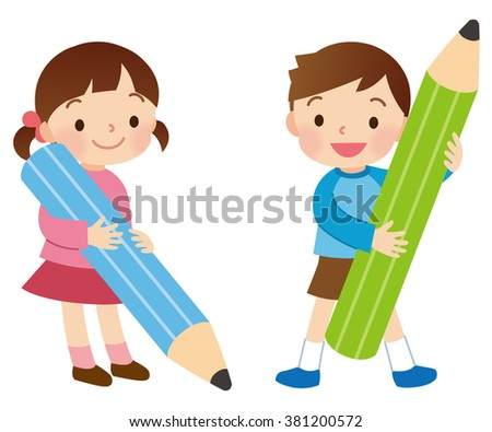 "the Big pencil and little kids ""Line less"""