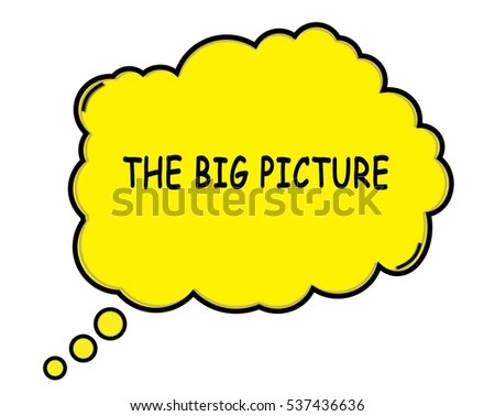 THE BIG PICTURE speech thought bubble cloud text yellow.