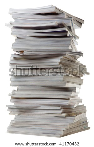 The big pile of thick glossy magazines on white background. - stock photo