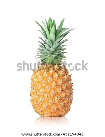 The big pineapple, orange, yellow, pineapple is ripe, ready to eat. Pineapple picked fresh from the garden, Pineapple helps digestion,  isolated on white background. This has clipping path.  - stock photo