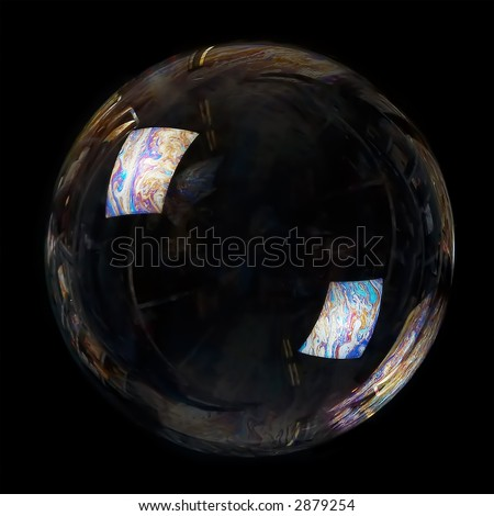 The big poured soap bubble on a black background