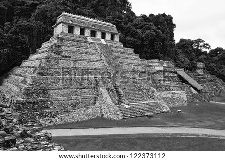 The big pyramid in  Palenque, Mexico (black and white)