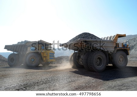 The big truck transport iron ore in career