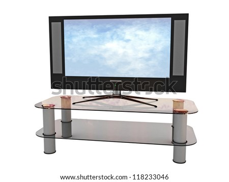 The big TV on a white background - stock photo
