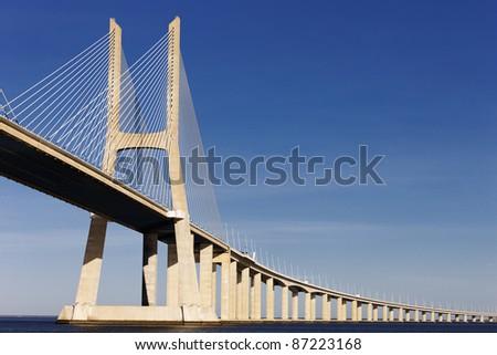 The big Vasco da Gama bridge in Lisbon - stock photo