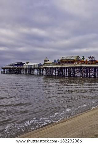 The big wheel on Central Pier, Blackpool, Lancashire, UK - stock photo