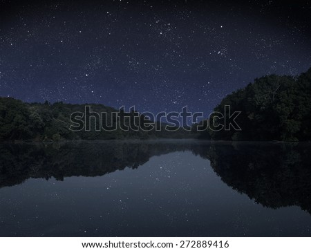 The big wood lake at night with sky with stars  - stock photo