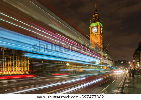 The Bigben with lighttrails in London
