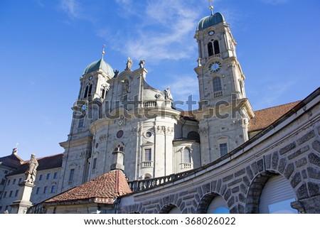 The biggest Catholic monastery in Einsiedeln, Switzerland - stock photo