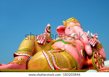 The biggest Ganesha statue in public temple,Thailand.