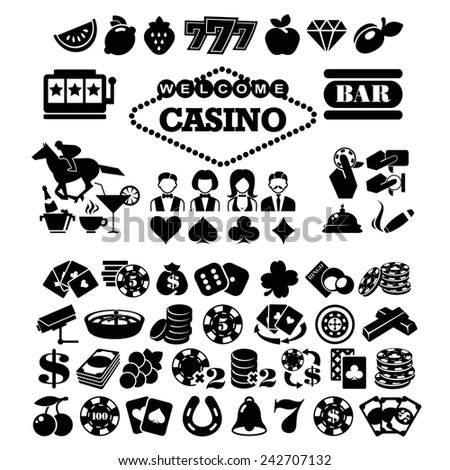 The biggest set of flat casino or gambling icons - stock photo