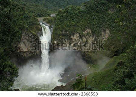 the biggest waterfall in ecuador. san-rafael - stock photo