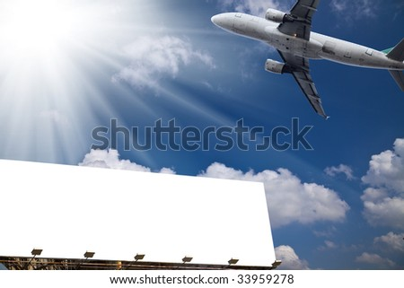 the billboard ande airplane outdoor. - stock photo
