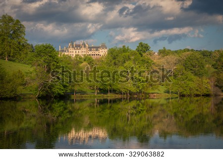The Biltmore Estate in ASHEVILLE, NC APRIL 29TH is nestled in the beautiful Blue Ridge Mountains. Since 1895, the Biltmore House has been a destination to millions of visitors a year-April 29th, 2015 - stock photo