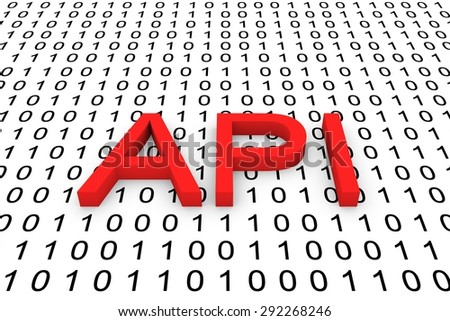 the binary code of the application programming Interface - stock photo