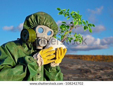 The biologists embrace genetically modified plant - stock photo
