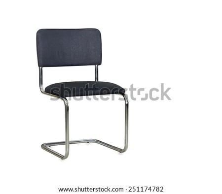 The black cloth office chair isolated over white - stock photo