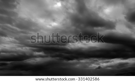 The black cloud in black and white - stock photo