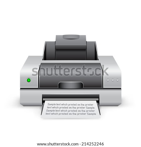 The black inkjet printer on the white background - stock photo