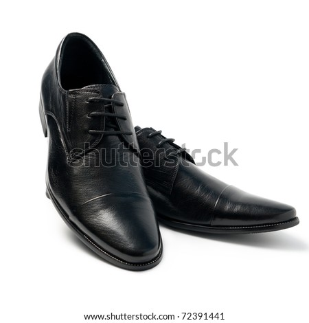 The black man's shoes isolated on white background. - stock photo