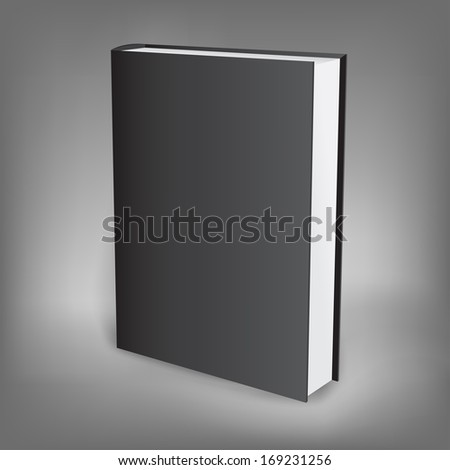 The black presentation book isolated on the dark background - stock photo