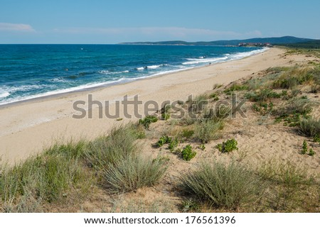 The Black sea shore South of Sozopol Bulgaria - stock photo