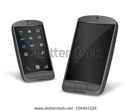 The black smartphone isolated on a white background - stock photo