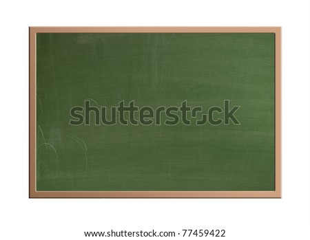 The blackboard in the classroom which was usually green, isolated with clipping path - stock photo