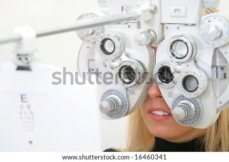 the blonde on the sight-testing - stock photo