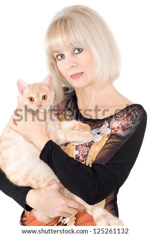 The blonde with a red cat on hands