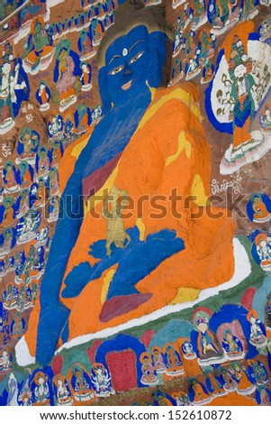 The Blue Buddha images at the Palhalupuk Temple in Lhasa in the Tibet Autonomous Region of China. - stock photo