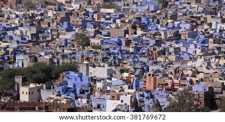 The Blue City of Jodhpur in Rajasthan, India. The practice of painting houses blue was established centuries ago by the priestly caste, the Brahmins, and has now extended to much of the population - stock photo