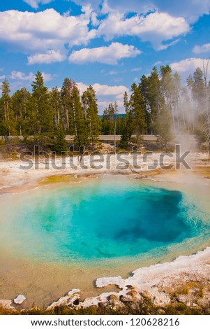 The Blue Diamond Pool in Yellowstone National Park - stock photo