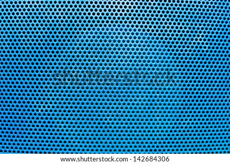 the blue grate background with holes - stock photo