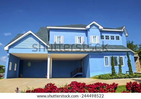 The blue house - stock photo