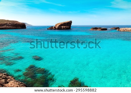 The Blue Lagoon on Comino Island, Malta  - stock photo