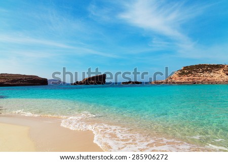 The Blue Lagoon on Comino Island, Malta Gozo - stock photo