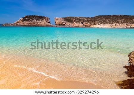 The Blue Lagoon on Comino Island, Malta Gozo - stock photo