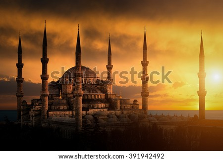 The Blue Mosque during sunset in Istanbul - stock photo