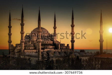 The Blue Mosque in Istanbul during sunset - stock photo