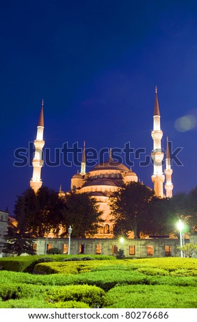 The Blue Mosque night scene with lights in park Istanbul Turkey