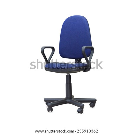 The blue office chair. Isolated - stock photo
