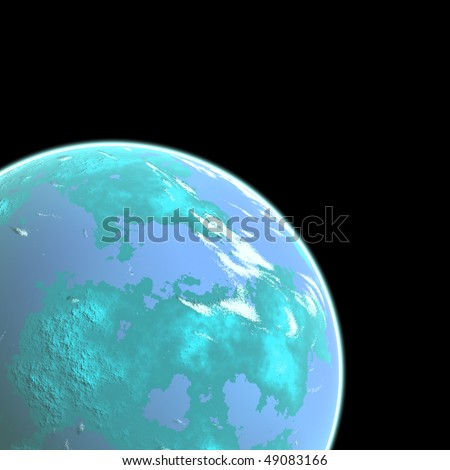 The blue planet with fine layer atmosphere on black background.