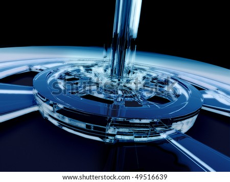 The blue reactor with reflection and refraction on the black background