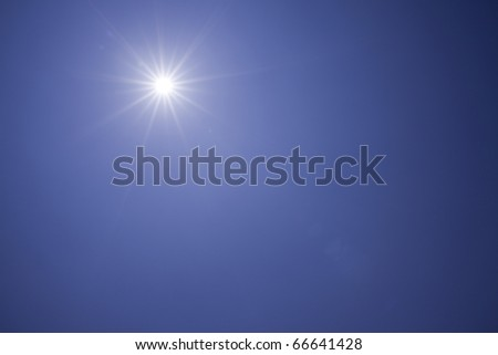 The blue sky and sunbeam - stock photo
