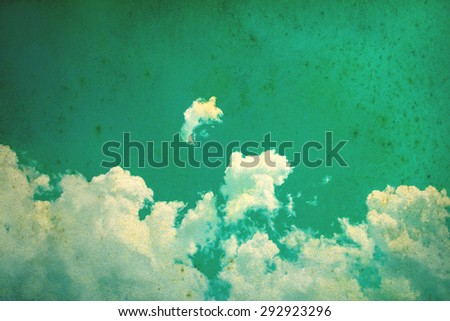The Blue sky clouds for retro color style with grunge texture - stock photo
