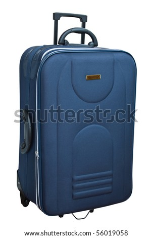 The blue suitcase isolated on white background.