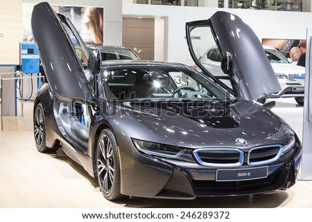 The 2016 BMW i8 at The North American International Auto Show January 13, 2015 in Detroit, Michigan. - stock photo