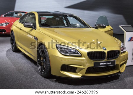 The 2016 BMW M6 coupe at The North American International Auto Show January 13, 2015 in Detroit, Michigan. - stock photo