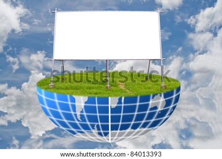 The board on grass field and sky. - stock photo